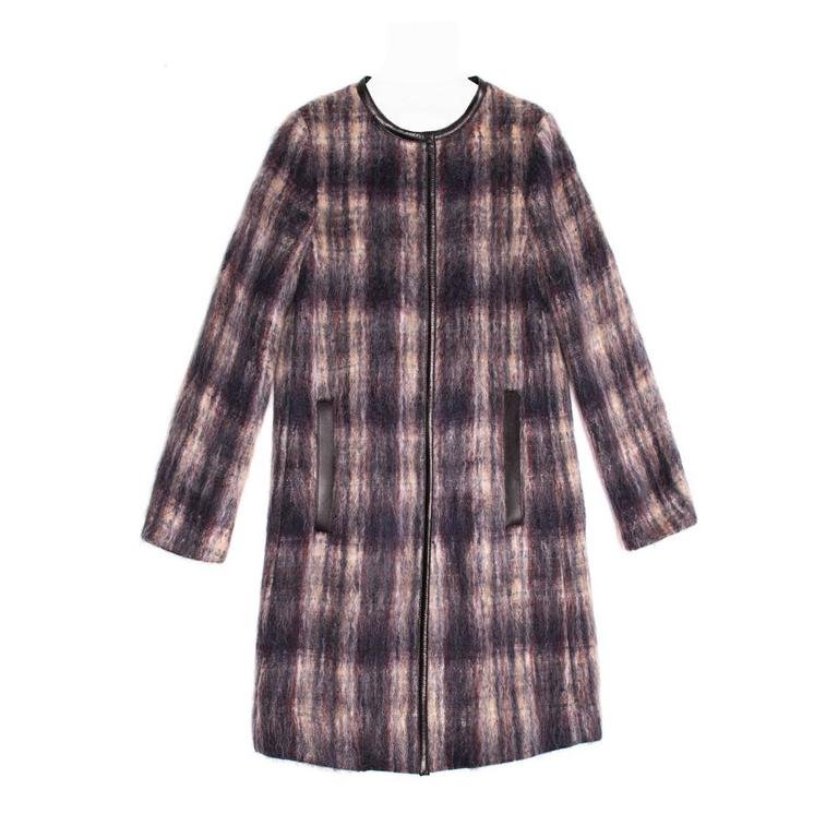 Prada Multicolor Tartan Mohair Coat