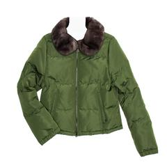 Prada Green Quilted & Fur Puffer Jacket
