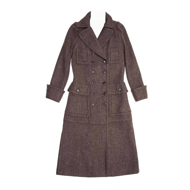 Louis Vuitton Brown Wool Tweed Hooded Coat For Sale at 1stdibs