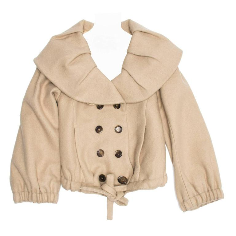 Louis Vuitton Beige Wool Shawl Collar Jacket For Sale