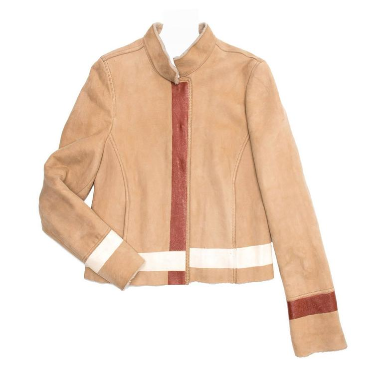 Yves Saint Laurent Tan Shearling Short Jacket For Sale