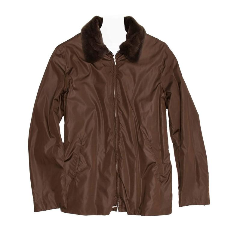 Jil Sander Brown Nylon & Fur Jacket