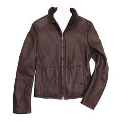 Jil Sander Brown Shearling Cropped Jacket
