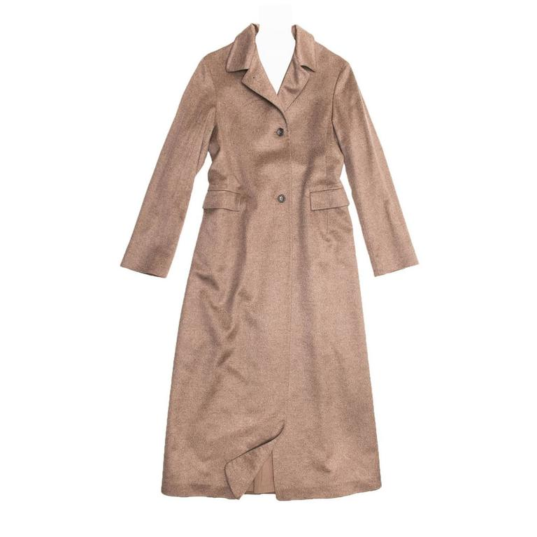 Jil Sander Camel Cashmere & Mink Long Coat For Sale