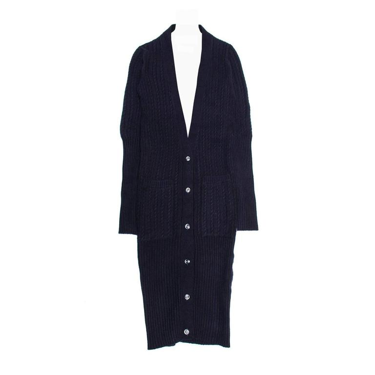 Thom Browne Navy Cashmere Cardigan Dress