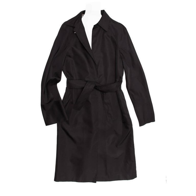 Jil Sander Black Silk Belted Coat