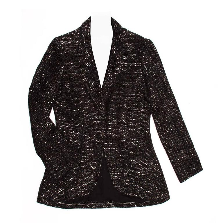 Chanel Black & Gold Sequined Tailored Blazer 1
