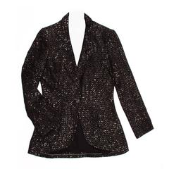 Chanel Black & Gold Sequined Tailored Blazer
