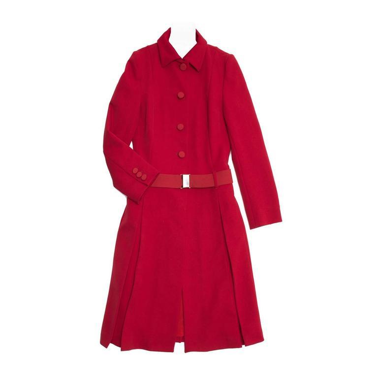 Prada Red Quilted Tailored Coat