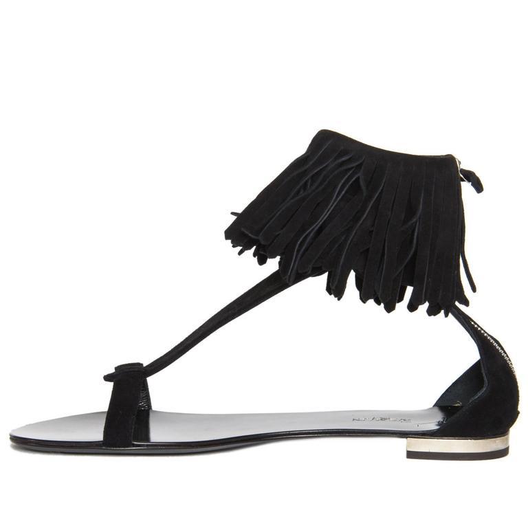 Balmain Black Suede Fringed Sandals For Sale At 1stdibs