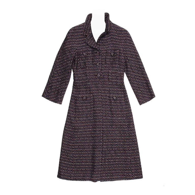 Chanel Multicolor Herringbone Belted Tweed Coat