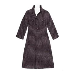 Chanel Multicolor Herringbone Belted Tweed Coat