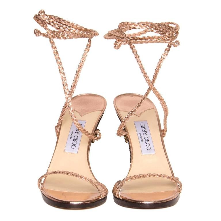 Beige Jimmy Choo Pink Lace-Up Wedge Sandal For Sale