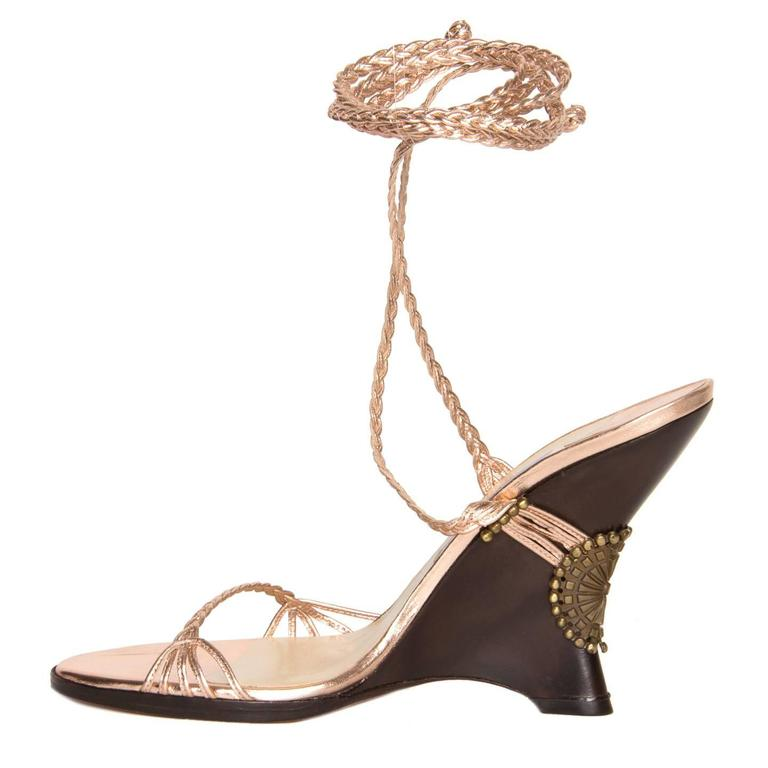 Jimmy Choo Pink Lace-Up Wedge Sandal In New Condition For Sale In Brooklyn, NY