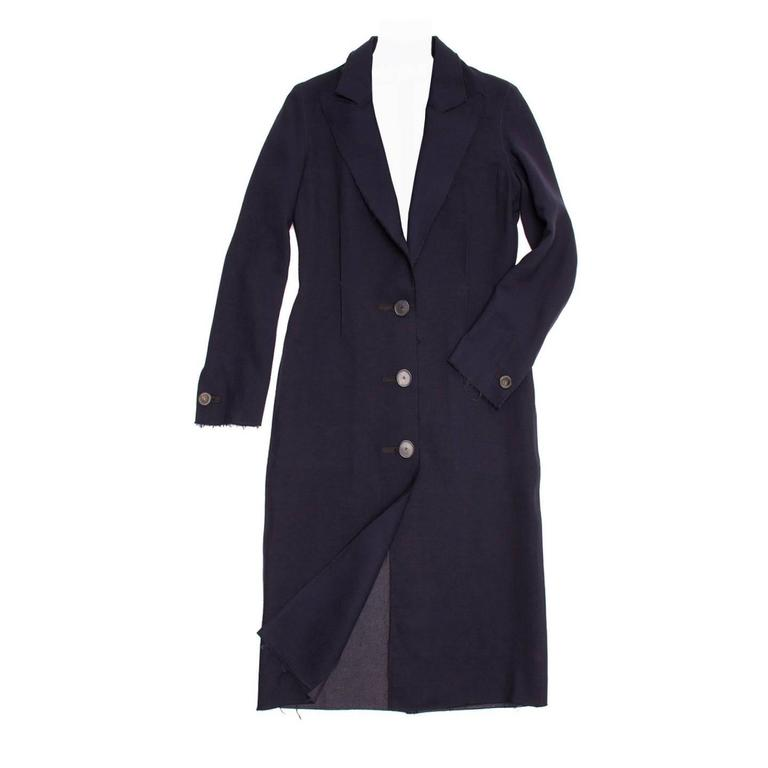 Lanvin Navy Wool Long Coat