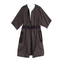 Lanvin Grey Wool Kimono Sleeved Coat