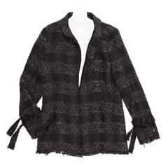 Chanel Black & Grey Silk and Cotton Tartan Jacket with Ties at Cuff