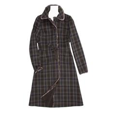 Prada Brown & Grey Tartan Wool Coat