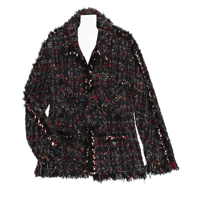 Chanel Multicolor Tie Front Tweed Jacket 1