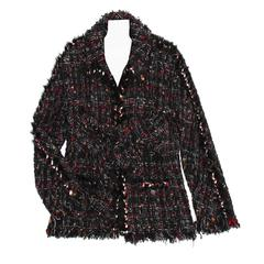 Chanel Multicolor Tie Front Tweed Jacket