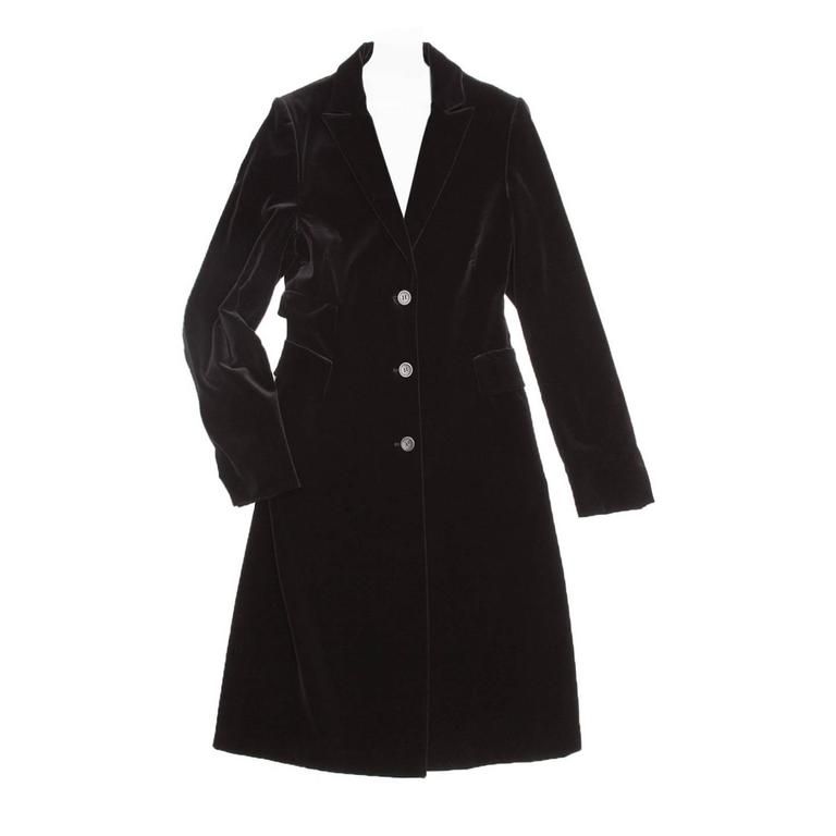 Jil Sander Black Cotton Velvet Coat