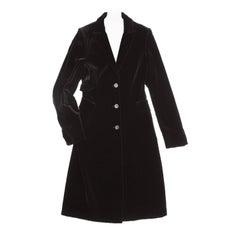 Jil Sander Black Cotton Velvet Coat