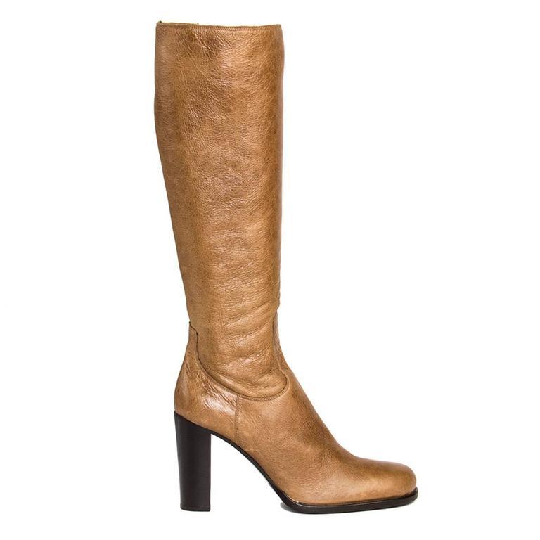 Jil Sander Tan Leather & Shearling Boots