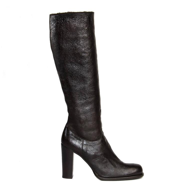 Jil Sander Brown Leather & Shearling Boots