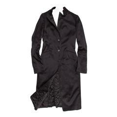 Jil Sander Black Silk Satin Coat