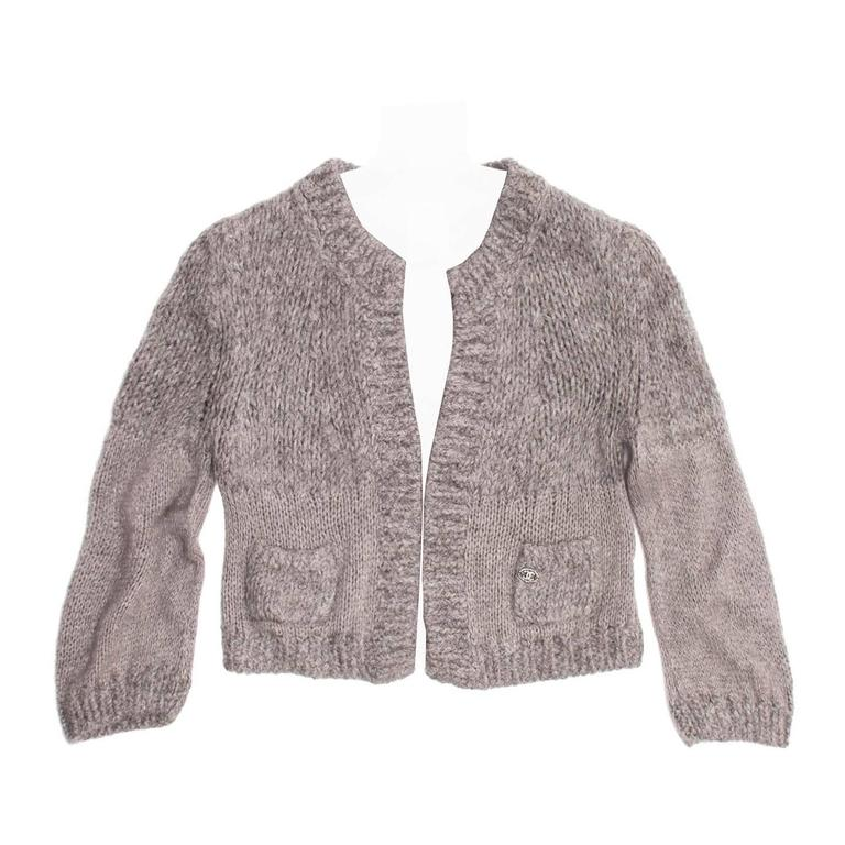Chanel Grey Cashmere, Angora and Chinchilla Cropped Cardigan 1