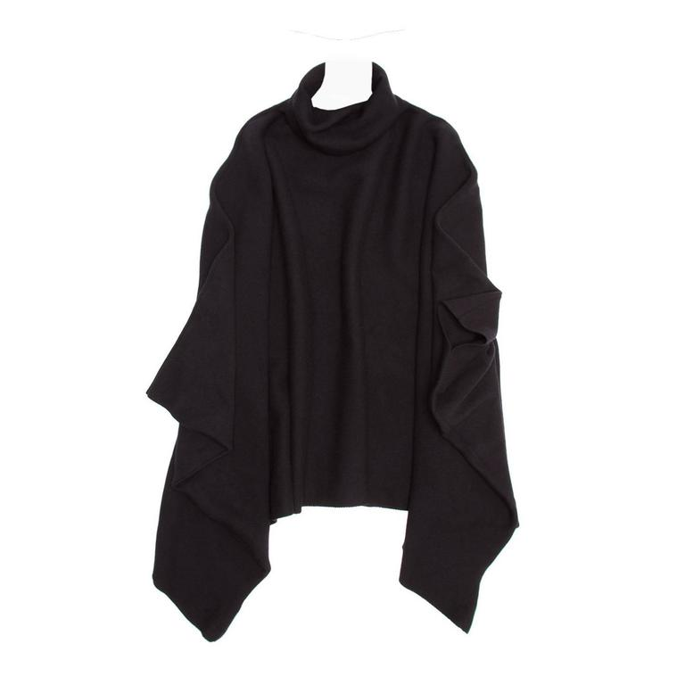 Balmain Black Wool & Cashmere Poncho For Sale