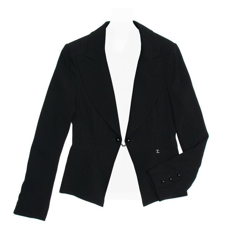 Chanel Black Wool Short Blazer with Peplum Detail 1