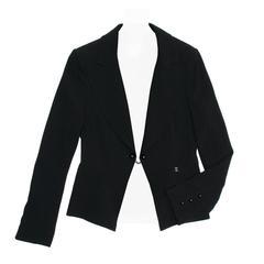 Chanel Black Wool Short Blazer with Peplum Detail