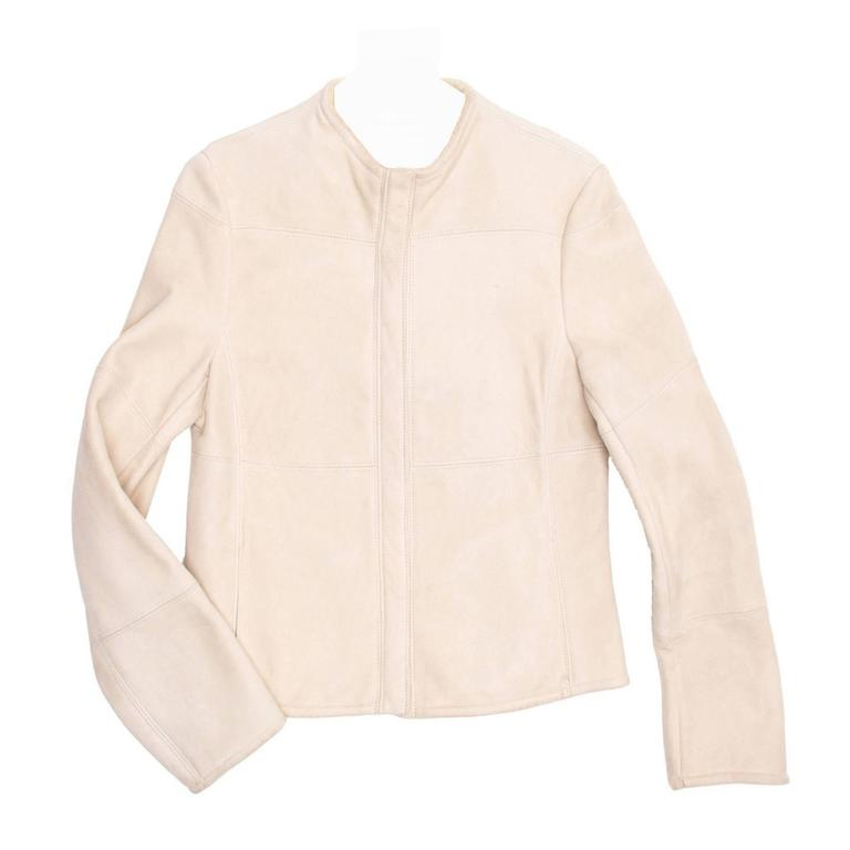 Jil Sander Cream Shearling Racer Jacket For Sale