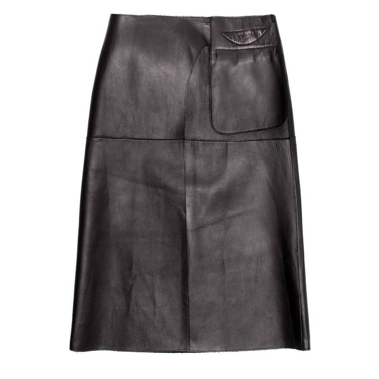 Prada Black Reversible Leather & Camel Skirt