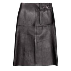 Prada Black Reversible Leather & Camel Skirt