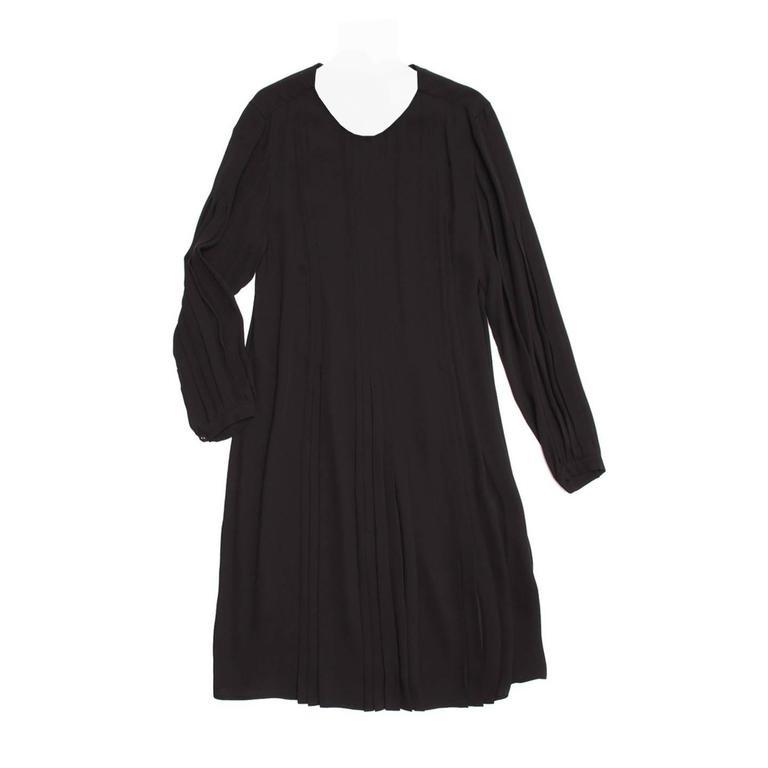 Prada Black Silk Long Sleeve Dress