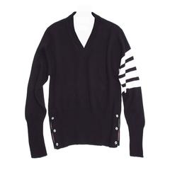 Thom Browne Navy Cashmere V-Neck Pullover