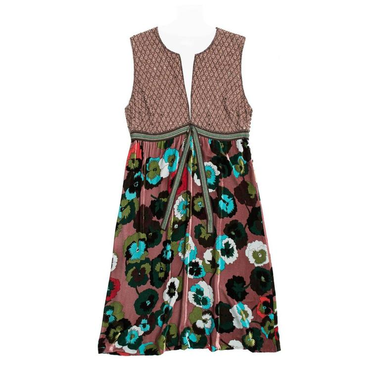 Missoni Multicolor Floral Velvet & Beaded Dress
