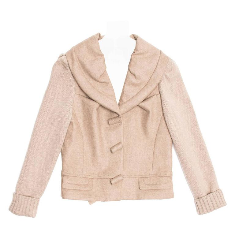 Louis Vuitton Ecru Cashmere Cropped jacket