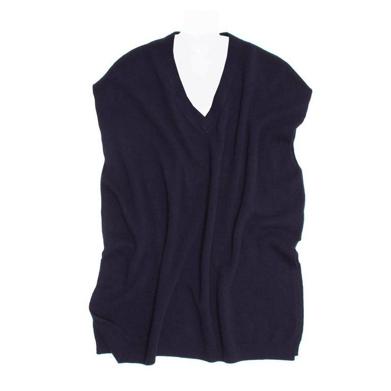 Prada Navy Blue V-Neck Knit Top