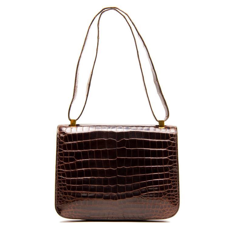 Women's Hermès Brown Crocodile Constance 23cm Bag For Sale