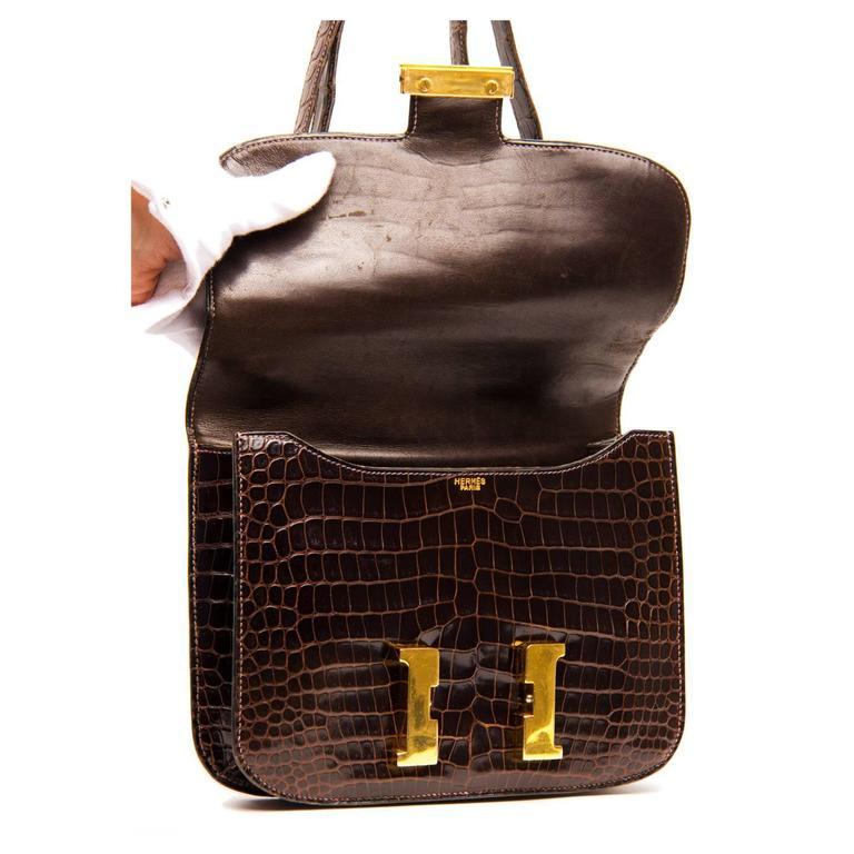 Hermès Brown Crocodile Constance 23cm Bag For Sale 1