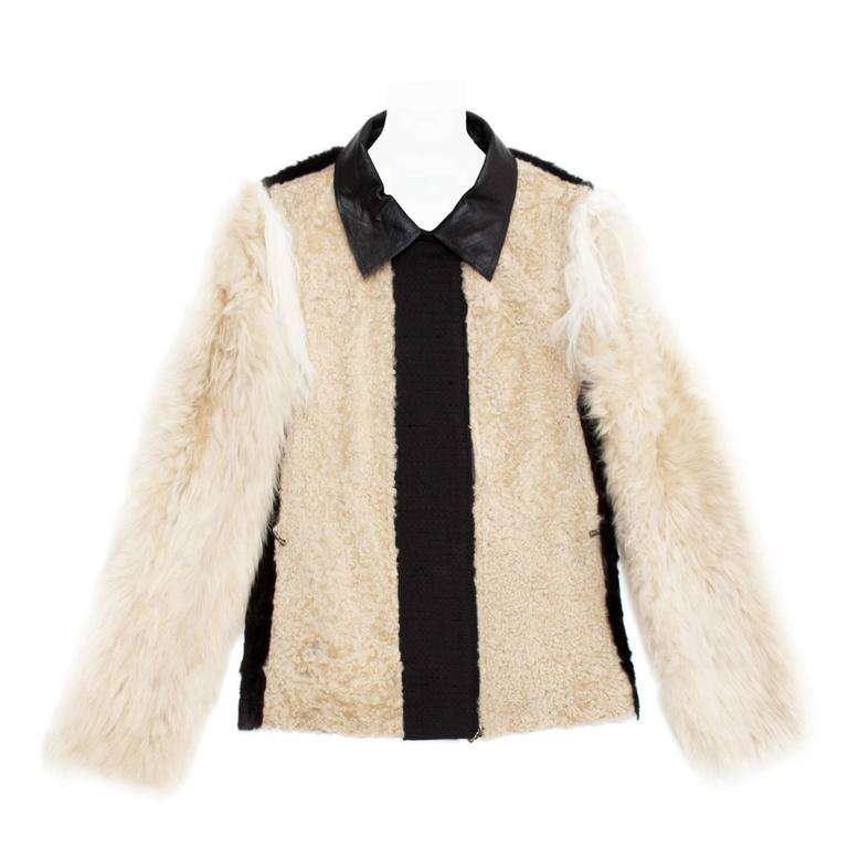 Lanvin Black & Beige Fur Jacket For Sale