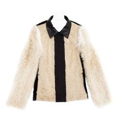 Lanvin Black & Beige Fur Jacket