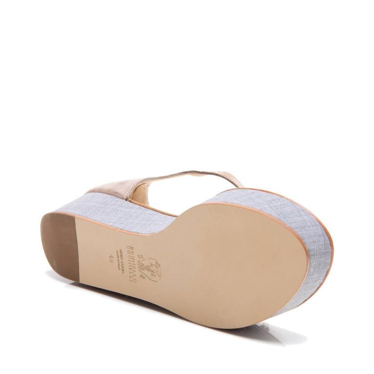 Brunello Cucinelli Tan & Denim Thong Sandals For Sale 1