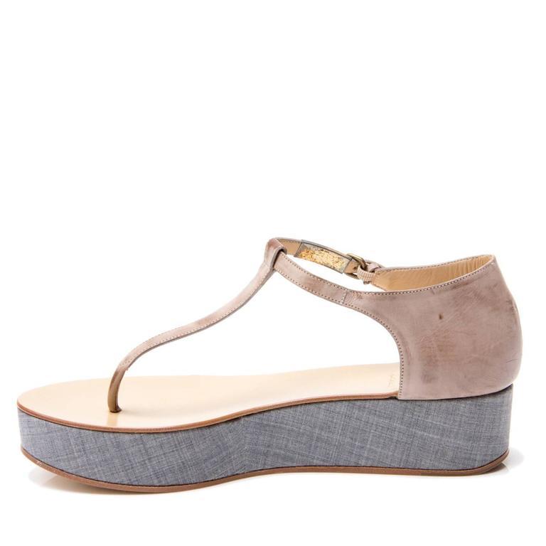 Women's Brunello Cucinelli Tan & Denim Thong Sandals For Sale