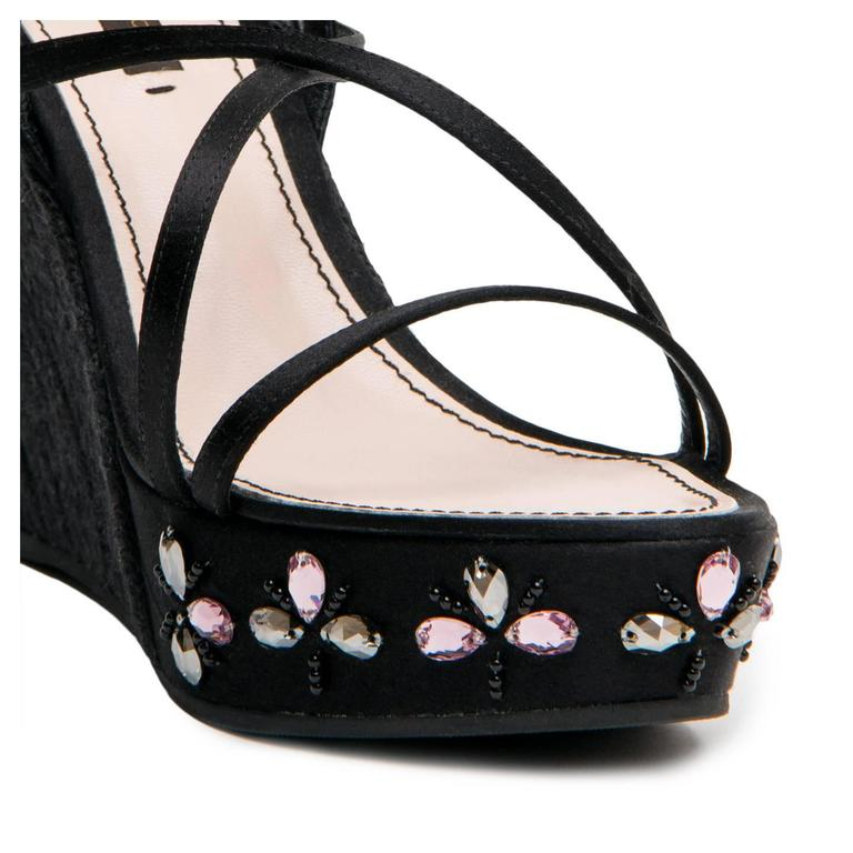 Louis Vuitton Black Satin & Crystals Wedges For Sale 1
