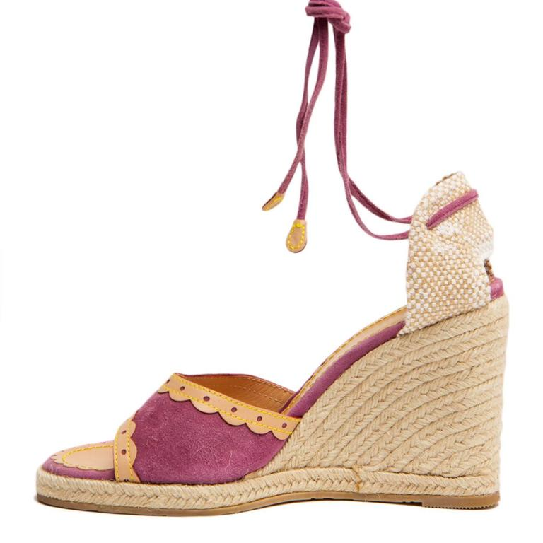 Women's Louis Vuitton Purple Suede & Tan Leather Wedges For Sale