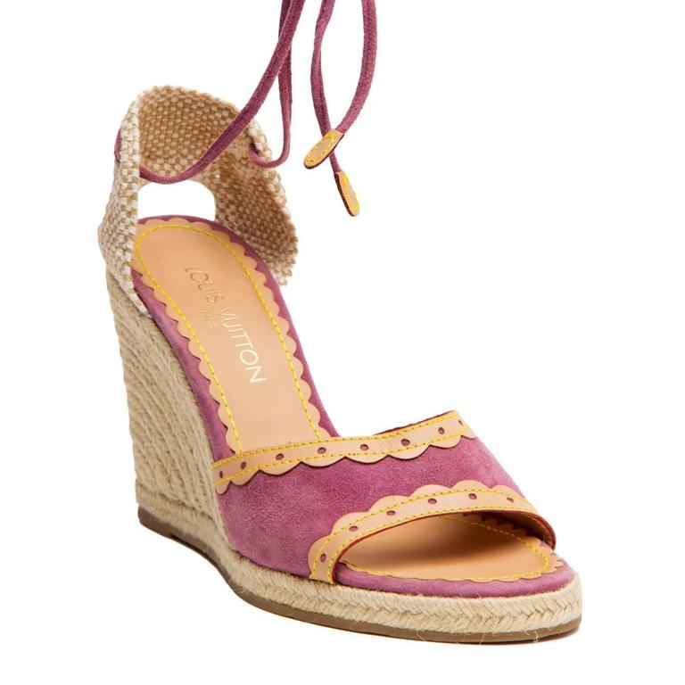 Beige Louis Vuitton Purple Suede & Tan Leather Wedges For Sale